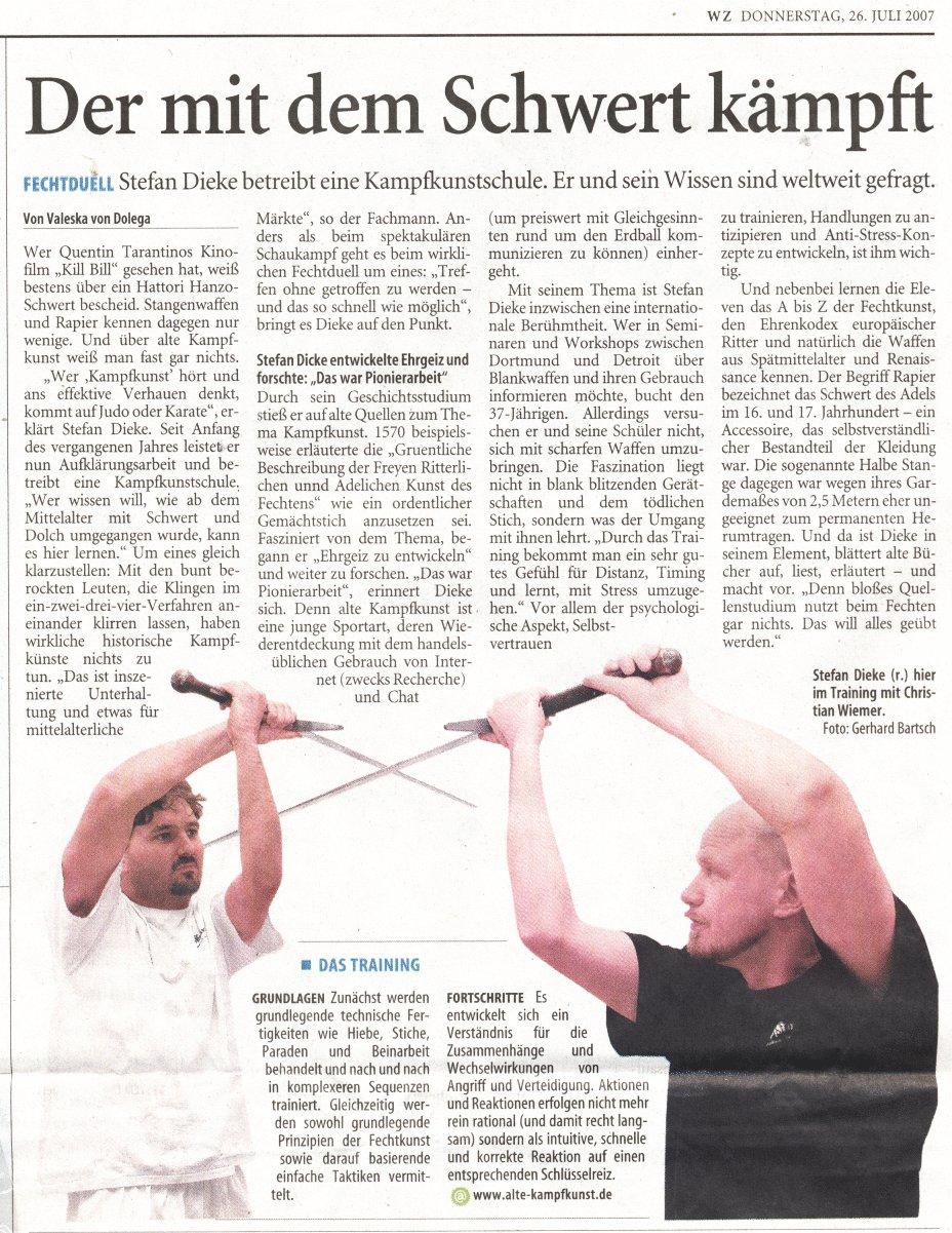 Alte Kampfkunst in der Westdeutschen Zeitung